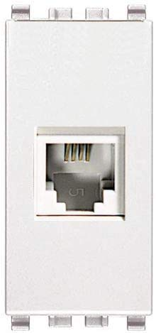 Frutto - Toma telefónica RJ11 compatible con Vimar Eikon 20320.B enchufe de 4 polos conexión a crimpar sin herramientas, color blanco