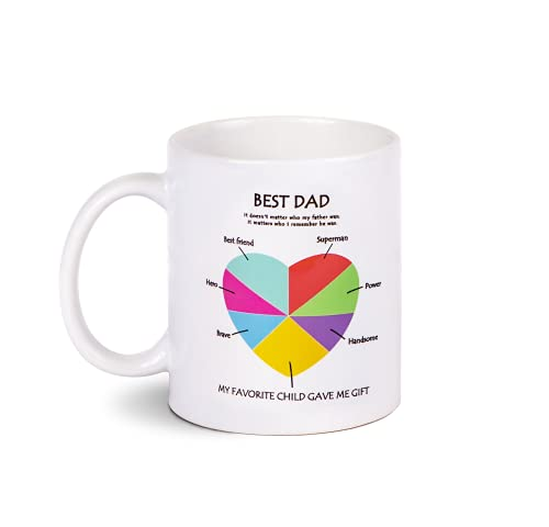 Father's Day Mug Cup, Father's Day Personalised Gifts for Dad from Daughter or Son, Best Funny Dad Coffee Cup Mug, Father's Day Gift Ideals for Dad Grandad Daddy Grandpa, White