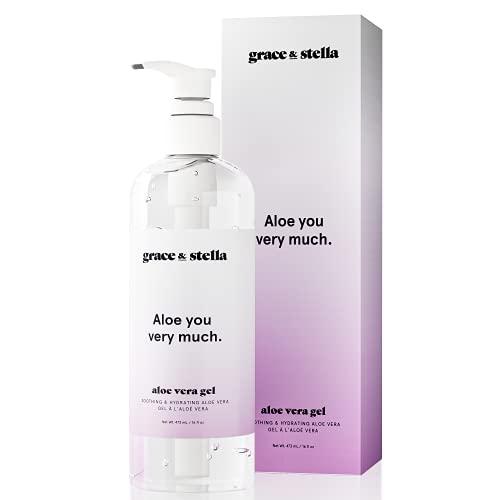 Gel à l'Aloe Vera Grace & Stella - Vegan – Soin après-soleil hydratant, le gel à l'Aloe Vera pur, aide à soulager les coups de soleil, les irritations de la peau et hydrate la peau sèche. (480 ml)