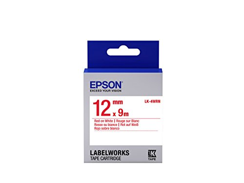 """Epson LabelWorks Standard LK (Replaces LC) Tape Cartridge ~1/2"""" Red on White (LK-4WRN) - for use with LabelWorks LW-300, LW-400, LW-600P and LW-700 Label Printers"""