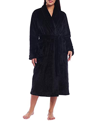Women Plush Fleece Robe Long Fluffy Cozy Bathrobe House Coat (Black, Large)