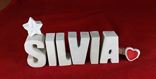 Beton, Steinguss Buchstaben 3 D Deko Schriftzug Namen SILVIA als Geschenk verpackt! Ein ausgefallenes Geschenk zur Geburt, Taufe, Geburtstag, Namenstag oder auch zu anderen Anlässen.