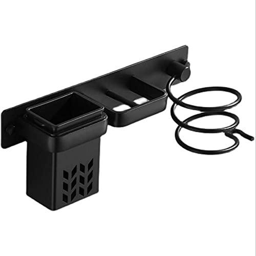 Flytande vägghylla för badrumsstöd för hårtork svart badrumstillbehör Svart