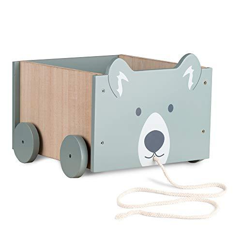 Navaris Caja de almacenamiento de juguetes - Baúl de madera para almacenaje en habitación de los niños - Cubo con ruedas y diseño de oso - Unisex
