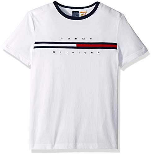Tommy Hilfiger Herren Adaptive with Magnetic Buttons at Shoulders T-Shirt, weiß, Mittel