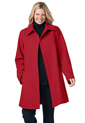 Woman Within Women's Plus Size Wool-Blend Classic A-Line Coat - 26 W, Classic Red