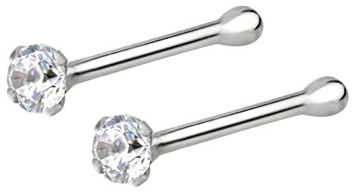 Forbidden Body Jewelry 22g Sterling Silver CZ Simulated Diamond Micro Nose Stud, 1.5mm Crystal, Clr Pair