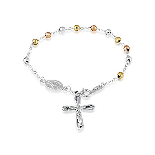 iJewelry2 Pulsera de rosario con cuentas de plata de ley tricolor
