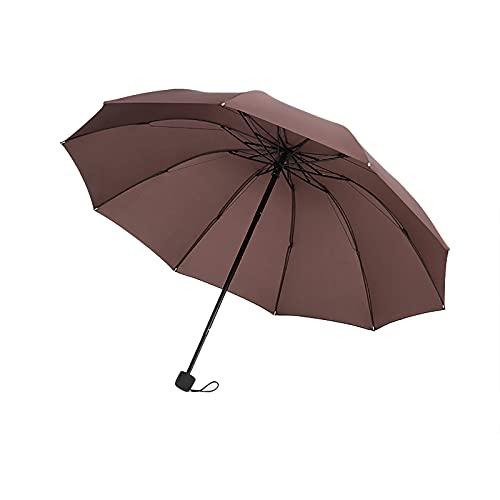 MARMODAY Paraguas de viaje paraguas plegable a prueba de viento reforzado ligero peso 10 costillas café