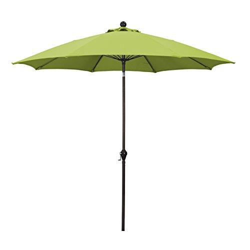 California Umbrella 9' Round Aluminum Pole Fiberglass Rib Umbrella, Crank Open, Push Button 3-Way Tilt, Bronze Pole, Lime Green