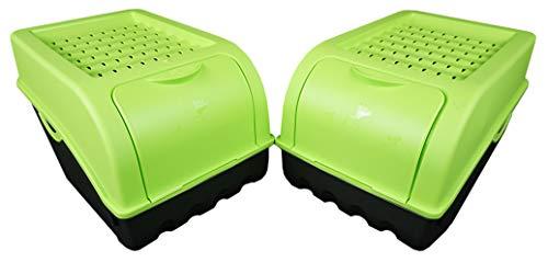 Novaliv Kartoffel Aufbewahrungsbox | mittel 5L | GRÜN | Kartoffelbox | Gemüsebox stapelbar Zwiebelbox Kartoffelkorb Obstbehälter Kartoffelkiste Zwiebel Aufbewahrung Frischhaltedose Möhren