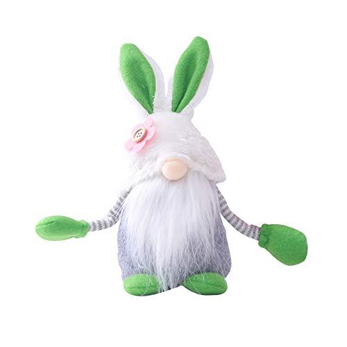 MUSIKID Decoración de muñeca sin rostro de Pascua, adorable muñeca sin cara, decoración de muñeca de Pascua sin rostro, gnomo de Pascua, conejo sin rostro, decoración enana (verde)