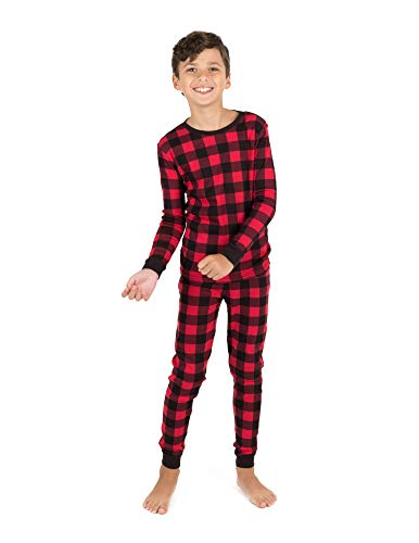 Leveret Kids & Toddler Boys Girls 2 Piece Pajamas 100% Cotton Red & Black Plaid (Size 14 Years)