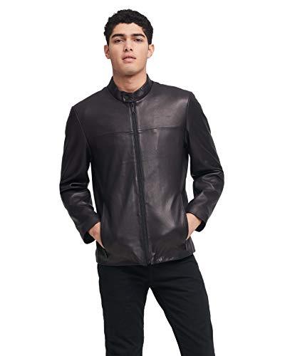 DKNY Herren Leather Modern Racer Jacket Lederjacke, schwarz, XX-Large