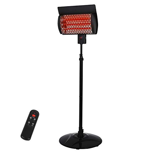 Sunday Living Electric Patio Heater, Outdoor Heater, 1500W Infrared Heater with 3 Power Settings, Digital Panel with 12H Timer, Adjustable Height Space Heater, in/Outdoor, SPH-15NR
