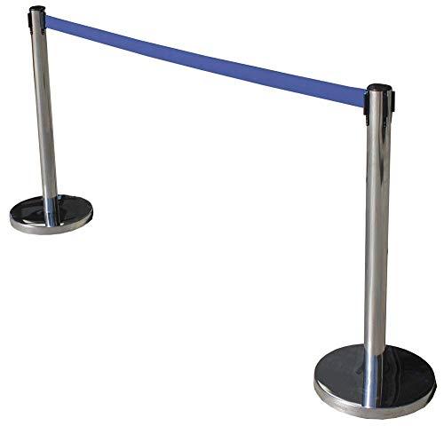 Pack de 2 Postes separadores de Acero Inoxidable con Cinta Extensible Azul 3m