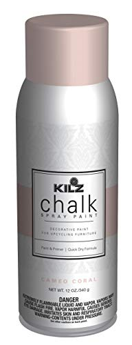 KILZ L540646 Chalk Spray Paint for Upcycling Furniture, 12 oz. Aerosol, Cameo Coral, 12 Ounce