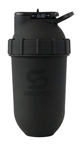 ShakeSphere Tumbler: Protein Shaker Bottle, 24oz ● Capsule Shape Mixing ● Easy Clean Up ● No Blending Ball or Whisk Needed ● BPA Free ● Mix & Drink Shakes, Smoothies, More (Matte Black)