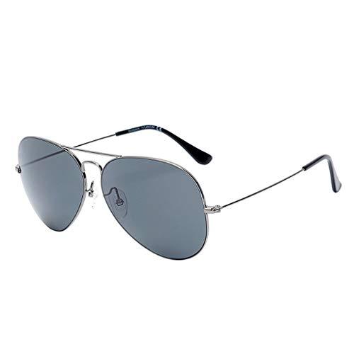 ZHAO YING Gafas De Sol Polarizadas Pura Super Elastic Pure Titanium (Color : Silver, Size : L)