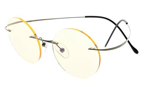 Eyekepper titanio con montura lentes teñidos amarillo redon