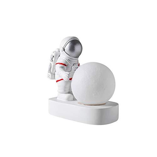 JSJJARF Lámpara de Mesa El Astronauta de la Luna de la decoración de la lámpara Simple luz de la Noche de la lámpara de Resina Regalo de los niños Dormitorio Lámparas de Mesa AG10 Pila de botón