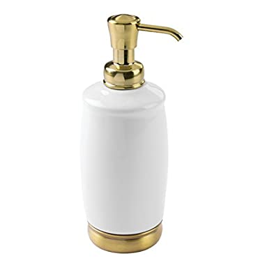 mDesign Liquid Hand Soap Ceramic Dispenser Pump Bottle for Kitchen, Bathroom | Also Can be Used for Hand Lotion & Essential Oils - White/Soft Brass