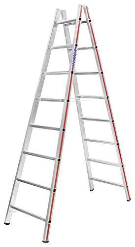 HYMER 402316 Sprossenstehleiter beidseitig begehbar, 2x8 Sprossen