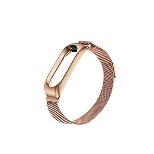 RHNE Moda para Xiaomi Mi Band 4 Reemplazo Deportivo Correa de artículo magnético Pulsera de Pulsera de Metal Correa de Repuesto de Dos Tonos Oro Rosa