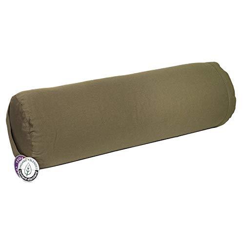 Bolster de yoga verde oliva, 60 x 20 cm, redondo, certificado OCS, relleno con cáscara de...