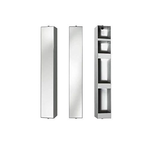 Probell Bad-Turn Spiegel-Drehregal 14 x 12,5 cm h 90 cm - Silber