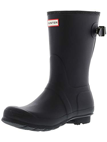 Hunter Damen Original Back Adjustable Short Gloss Wasserdicht Stiefel - Schwarz - 37
