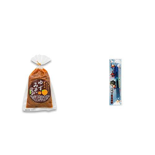 [2点セット] ゆずみそ(130g) ・さるぼぼ 癒しボールペン 【ブルー】