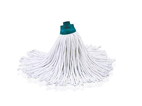 Leifheit Ersatzkopf Classic Mop Cotton, für hartnäckige Flecken auf Fliesen und Steinböden, extra hohe Wasseraufnahme und Abgabe, saugfähige Baumwolle, waschbar bei 60°C, flexible Mopkopf-Streifen