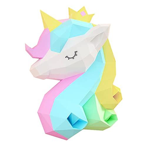 WLL-DP Cabeza De Unicornio Escultura De Papel 3D Origami Puzzle Papel De Juguete Juego Personalizado Hecho A Mano Papel Geométrico Artesanía De Papel DIY Modelo Decoración De Pared