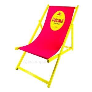 Paloma Lemonade Liegestuhl aus Buchenholz dreifach verstellbar Beach Party Festival Sommer Relaxliege