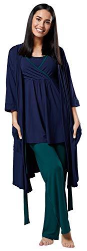 HAPPY MAMA Femme Maternité Ensemble Pyjama/Pantalon/Haut/Robe Chambre 558p (Marine & Vert Foncé, 46, 3XL)
