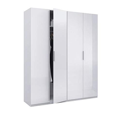 Armario 4 puertas, color Blanco Brillo, medidas 200 cm (Alto) x 180 (Ancho) x 52 cm (Fondo)