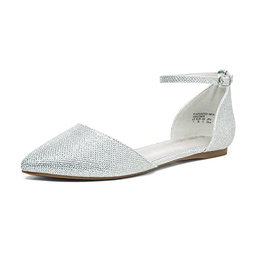 DREAM PAIRS Women s Flapointed-New Silver Glitter D Orsay Ballet Flats Shoes - 8 M US