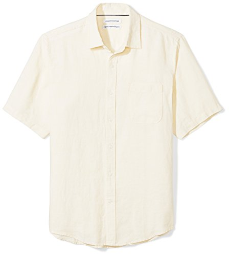 Amazon Essentials - Camisa a cuadros de lino con manga corta para hombre., Amarillo, US S (EU S)