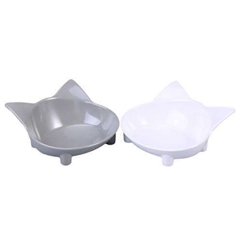 POPETPOP 2Pcs Pet Food Bowls Katze Keramik Futternäpfe für Hund und Katze (grau und weiß)