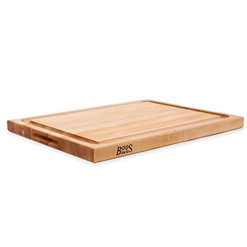 John Boos Maple Wood Edge Grain Reversible Cutting Board with Juice Groove, 24 Inches x 18 Inches x 1.5 Inches