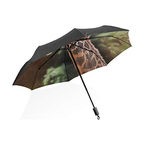 Totes Umbrella Giraffen auf altem Papierkarton Tragbarer kompakter Klappschirm Anti-UV-Schutz Winddicht Outdoor Travel Frauen Jungen Umgekehrter Regenschirm