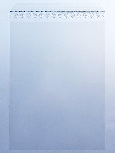 100 B4-Folienversandtaschen, Adhäsionsverschlussbeutel, Folienbeutel, Klappenbeutel | Standard: 50 µm stark | 360 x 250 mm, mit Abziehstreifen, glasklar-transparent