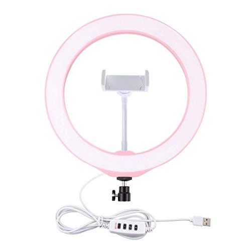 Heqianqian Anillo de selfie, color rosa claro, 25,4 cm, 3200 K-6500 K, intensidad regulable, LED, anillo de luz con clip para teléfono para selfie, transmisión en vivo