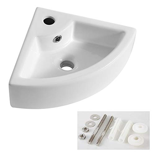 AWESON Small Corner Wall Mount Vessel Sink,White Vitreous China, Above Counter Corner Sink with Single Faucet Hole and Overflow