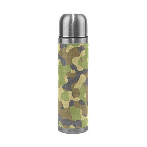 FFY Go Mug de Voyage, Bouteille d'eau Isotherme en Acier Inoxydable, Motif Camouflage, 500 ML