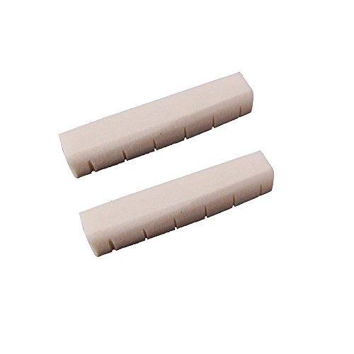 Musiclily 6 String Acoustic Guitar Buffalo Bone Neck Slotted Nut for Taylor Martin Guitar(Pack of 2)