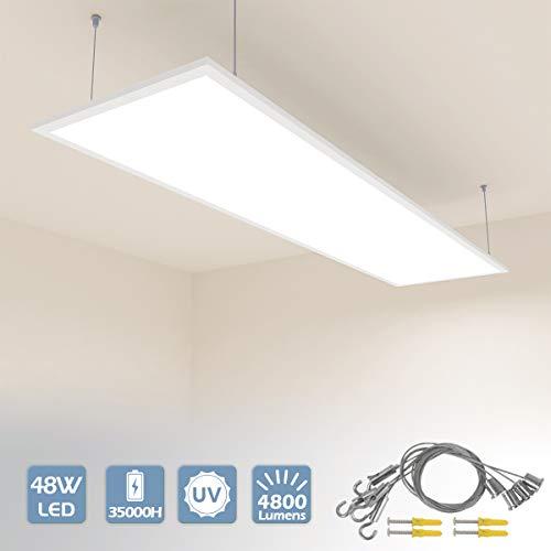 Vkele LED Panel Deckenleuchte 120x30cm Wandleuchte Warmweiß 3000K, 48W, 4800 lumen, Weißrahmen, Deckenlampe, Hängelampe mit Einstellbare Seilaufhängung für Schlafzimmer, Fitnessraum, Büro