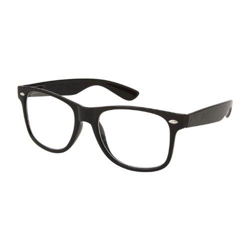 Retro Nerd Geek Oversized Black Framed Spring Temple Clear Lens Eye Glasses