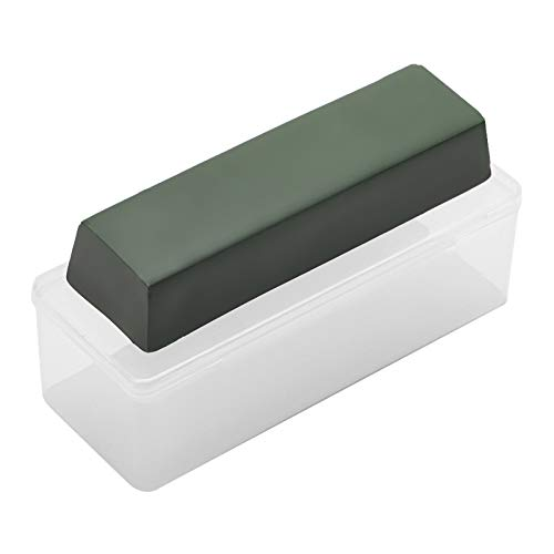 Angerstone Buffing Compound- 5 Oz Green Fine Polishing Compound with Plastic Box- Leather Strop & Sharpening Stropping Compound Bar